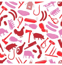 Butcher and meat shop icons seamless red pattern vector