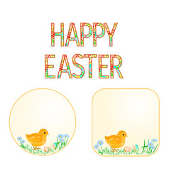buttons happy easter easter chicks vector image