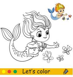 Cartoon cute mermaid look at beautiful vector