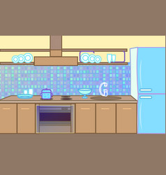 cartoon flat kitchen color background vector image
