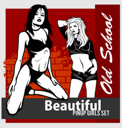 Collection of pin up girls in monochrome vector