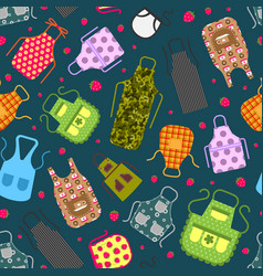 colorful kitchen aprons with patterns icons vector image