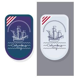 Columbus day greeting card set vector