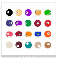 Complete Set of Billiard Balls on White Background vector image