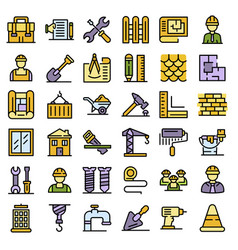 contractor icons set flat vector image