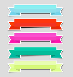 cute color ribbon banners paper sticker with vector image