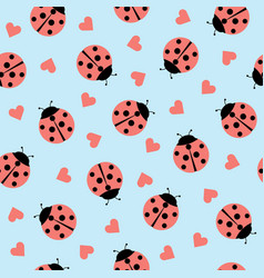 cute ladybug and hearts seamless pattern vector image