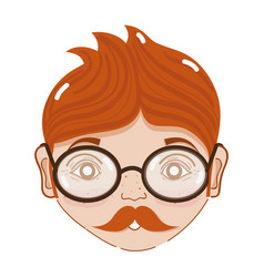 cute man face with glasses and mustache vector image