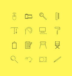 design elements linear icon set simple outline vector image