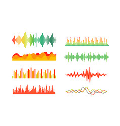 Different color sound waves set clipart vector