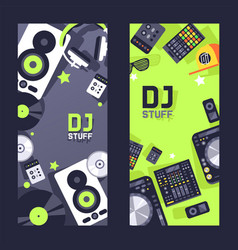 dj stuff on vertical banner nightclub party vector image
