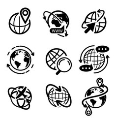 Earth globe icon set isolated flat world map vector