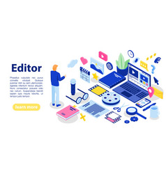 Editor text concept banner isometric style vector
