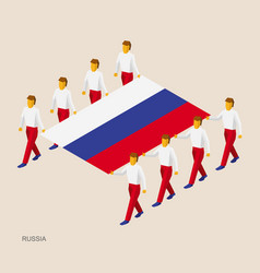 eight people hold big flag of russia vector image