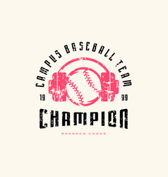 emblem of baseball champion team vector image