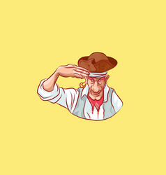 Emoji sticker seaman captain says yes sir vector