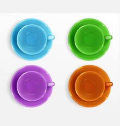empty color cups for coffee and tea top view vector image