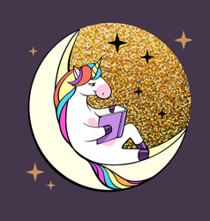 fantasy unicorn reading book on moon vector image