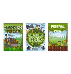 Farming and gardening tools equipment vector