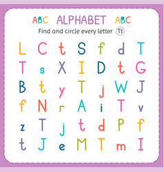 Find and circle every letter t worksheet vector