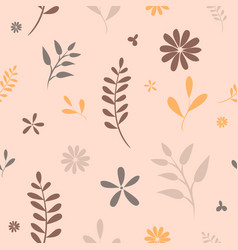 flower ornaments autumn leaves seamless pattern vector image