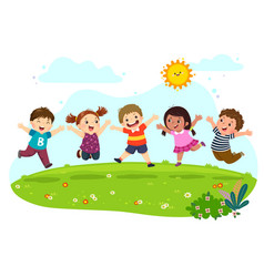 group happy kids jumping on summer meadow vector image