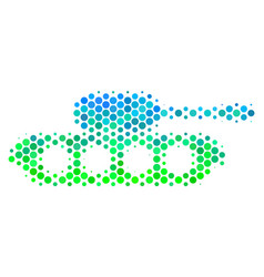 halftone blue-green military tank icon vector image