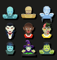 halloween party role characters avatar bust icons vector image