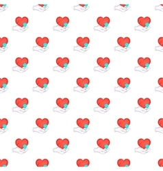 Hand holding red heart pattern cartoon style vector