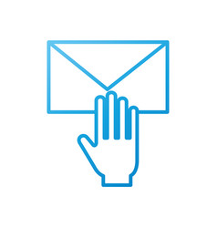 hand with email envelope message letter web symbol vector image