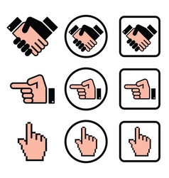 Handshake pointing hand cursor hand icons set vector image vector image