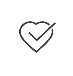 heart tick icon line outline vector image