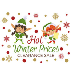 Hot winter prices clearance sale elves children vector