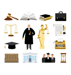 Jurisdiction and law cartoon elements vector