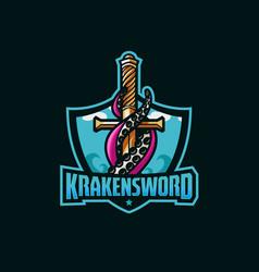Kraken sword awesome logo sport vector