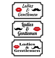 ladies and gentlemens with lips and mustaches vector image
