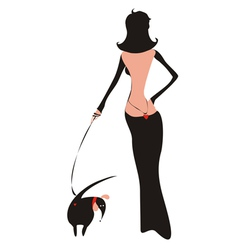 lady with doggy vector image