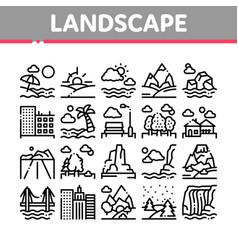 landscape travel place collection icons set vector image