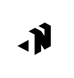 letter n with negative space vector image