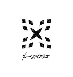 Letter x logo with dot white noise effect vector