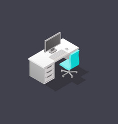 low poly isometric work place vector image
