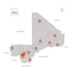 mali map with administrative divisions vector image