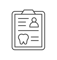 Medical records dental card simple outline icon vector