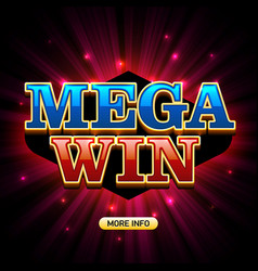 mega big win banner for lottery or casino games vector image