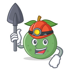 Miner guava mascot cartoon style vector