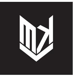 mk logo monogram with emblem shield style design vector image