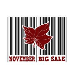 November big sale barcode vector