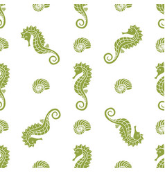 pattern with seahorse and shells vector image