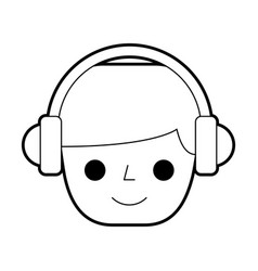 Person with earphones device isolated icon vector