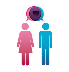 pictogram male and female with bubble dialog box vector image